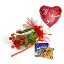 Promo Combo 12 Red Roses Bouquet with Box of Chocolate and Mini Teddy Bear and Heart Shape Balloon