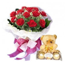 Promo Combo 18 Red Roses Bouquet with Chocolates and Teddy Bear