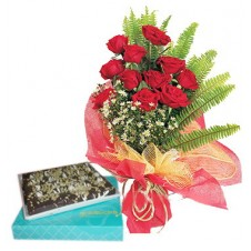 Promo Combo 12 Red Roses Bouquet with Chocolate Brownie