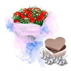 12 Red Roses Bouquet with Hersheys Kisses