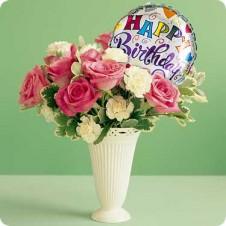1 Dozen Red/Pink Roses with 1 Dozen Carnations White/Pink in a Vase w/ Mylar Balloon