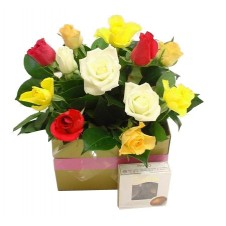 1 Dozen Multicolored Roses in a Basket