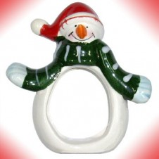 Mini Snowman in Green Scarf
