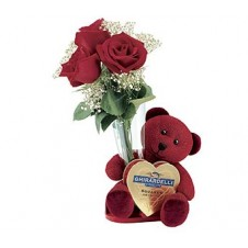 3 pcs Roses,Bear with Choco