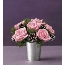 6pc Pink Roses in a Vase