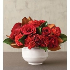 Red Roses w/ Red Carnations in a Vase