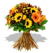 Mixed Sunflower & Gerbera in a Bouquet