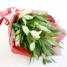 Half Dozen White Lilies in a Bouquet