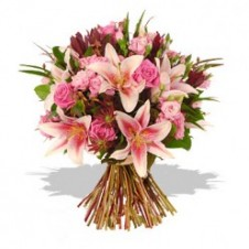 Mixed Pink Roses & Lilies in a Bouquet