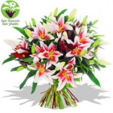 One Dozen Pink Lilies in a Bouquet