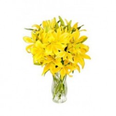 One Dozen Yellow Lilies in a Vase