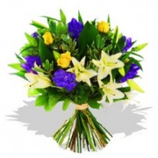 Fresh Mixed Blue & Yellow Flowers