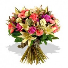 A Blend of Assorted Color Flowers in a Bouquet