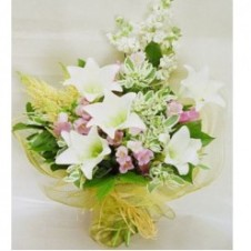 5pcs White Lilies w/ Seasonal Fillers in a Bouquet