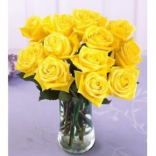 1 Dozen Yellow Roses in a Vase