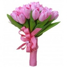 Two Dozen Pink Tulips in a Bouquet 1