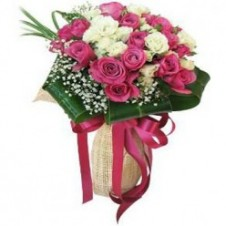 2 Dozen White and Pink Roses in a Bouquet