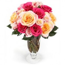 1 Dozen Multicolor Roses in a Vase