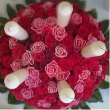 50pcs Red & Pink Roses in a Bouquet with 5 white candles