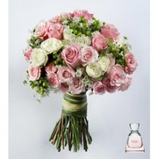 2 Dozen Pink & White Roses wih Fillers in a Buoquet