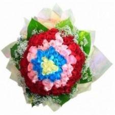 101 Multicolored Roses in a Bouquet.