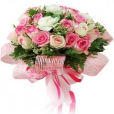 2 Dozen Pink And White Roses in a Bouquet