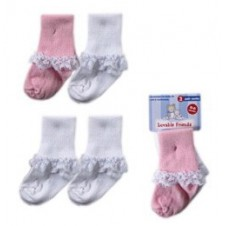 2 Pairs Baby Socks with Lace Cuffs