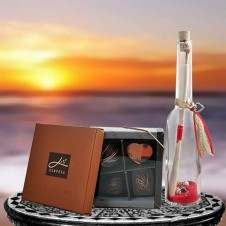 Mouthwatering Box of Chocolates with Message in a Bottle
