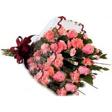 Nice Wrapped Bouquet Of Pink Roses And Carnations