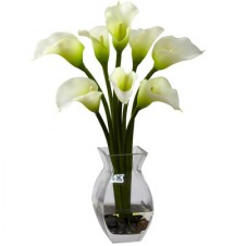 8 pcs. White Calla Lillies in a Glass Vase