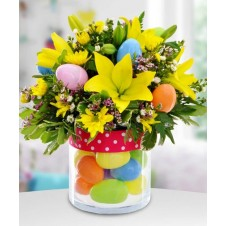 Easter Egg Hunt with Yellow Lillies and Daisies in Vase