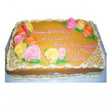 Caramel Cake Rows of Roses