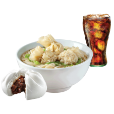Beef Wonton Mami with Chunky Asado Siopao and drinks by Chowking