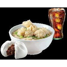 Beef Wonton Mami with Chunky Asado Siopao and drinks by Chowking