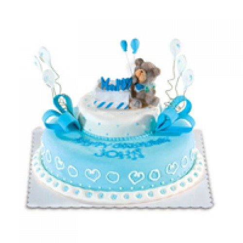 Goldilocks Cake Design For Christening : Blue Happy Bear by Red Ribbon