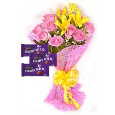 Blissful Bouquet with 3 Cadbury Chocolate