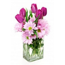 5 pcs Pink Tulips with Gerberas in a Glass Vase