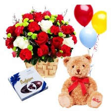 Flowers with Chocolates, Teddy Bear and Balloons