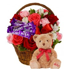 Flowers with Chocolate and Teddy Bear