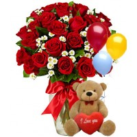 Flowers with Balloons and Teddy Bear