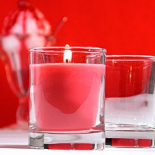 6 pcs Red Carndles with Glass Holder