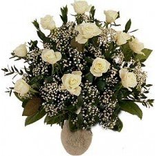 One Dozen White Roses in a Vase