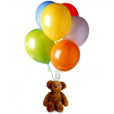 A Teddy Bear With 6 Pcs Latex Balloons
