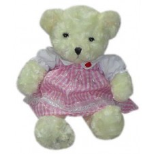Bear with Pink Checkered Dress
