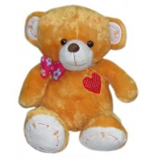 Brown Bear with Ribbon & Heart Embroidery