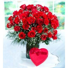 2 Dozen Red Roses in a Vase  with Heart Shape Chocolate Box